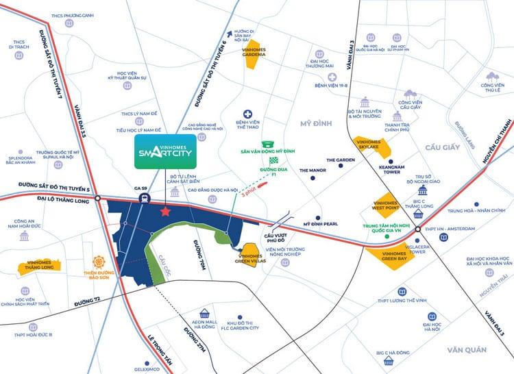 Chỉ đường vinhomes smart city