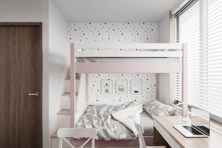 Nội thất phòng ngủ bé gái căn hộ chung cư 70m2