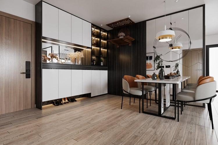 Thiết kế chung cư đẹp 1 phòng ngủ - bếp