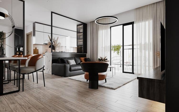 Thiết kế chung cư đẹp 1 phòng ngủ - phòng khách