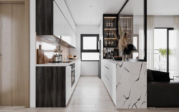 Thiết kế chung cư đẹp 1 phòng ngủ - khu bếp
