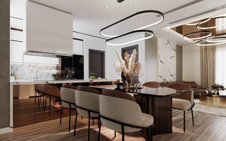 Thiết kế nội thất căn hộ chung cư cao cấp -khu bếp