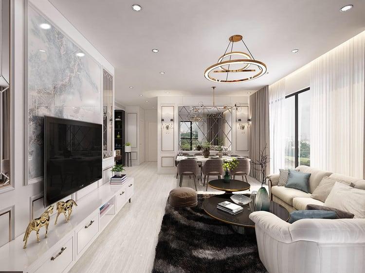 Thiết kế nội thất căn hộ chung cư tân cổ điển hơi hướng hiện đại