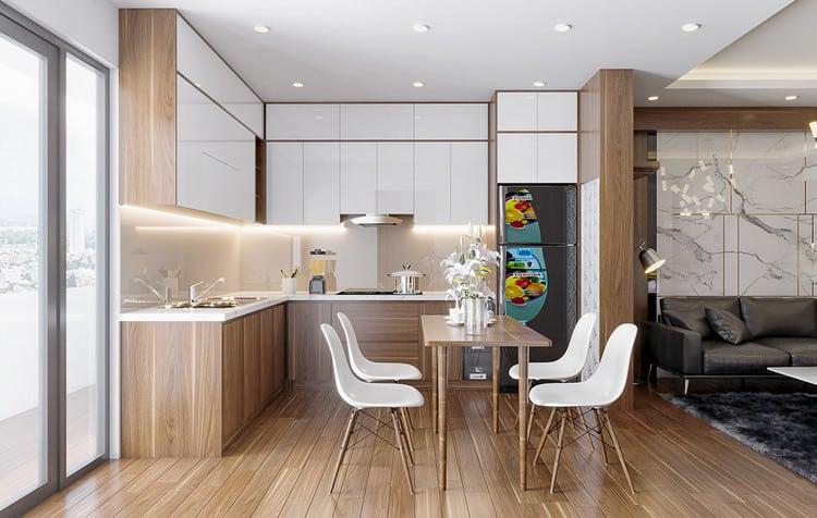 Thiết kế nội thất bếp chung cư gỗ công nghiệp