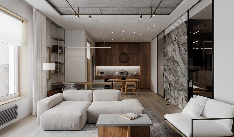 phòng khách nội thất cao cấp tối giản