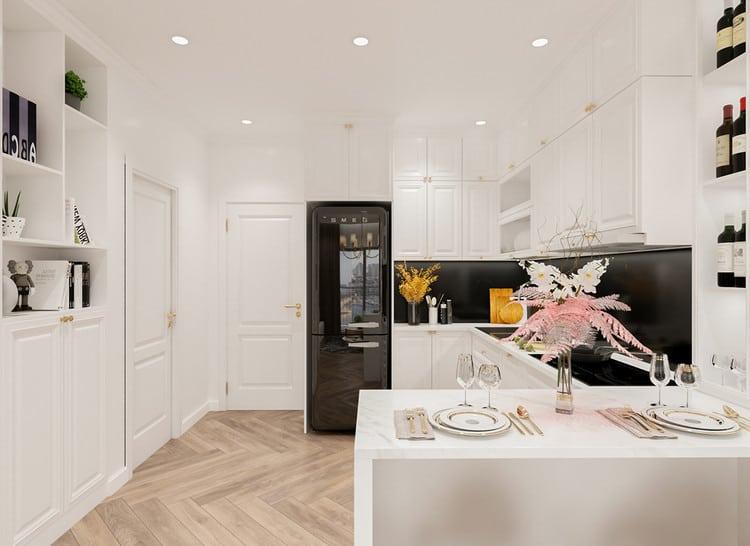 Phòng bếp chung cư tân cổ điển