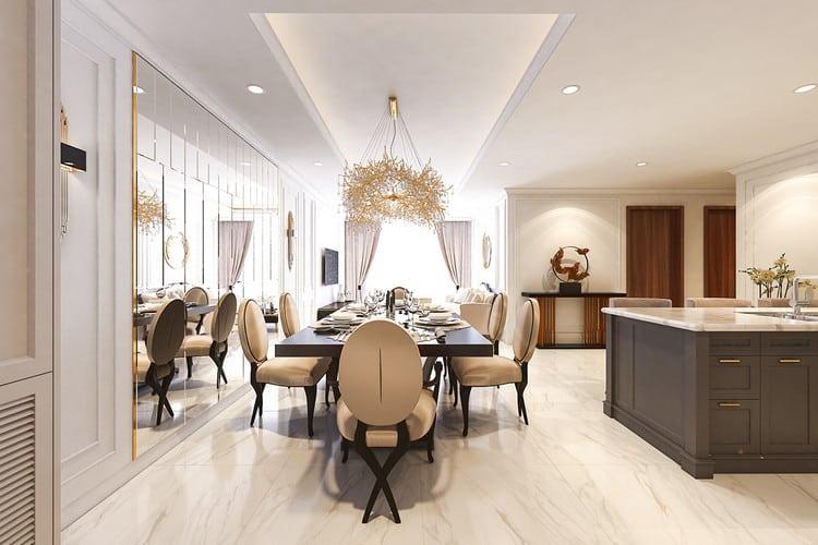 Mẫu căn hộ tân cổ điển đẹp - phòng ăn