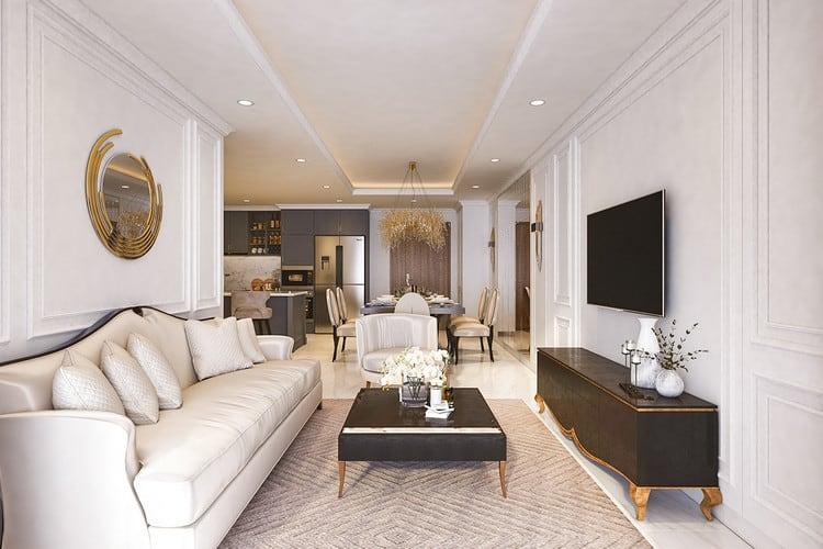 Mẫu căn hộ tân cổ điển - phòng khách