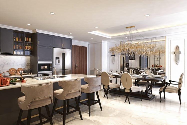 Mẫu căn hộ tân cổ điển đẹp - phòng bếp