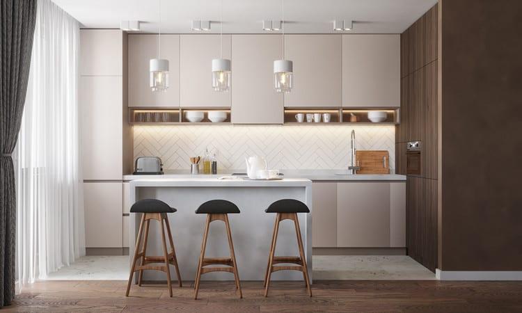 Sử dụng tủ áp trần cho bếp căn hộ nhỏ đẹp đơn giản