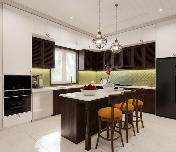 phòng bếp biệt thự mini phong cách indochine