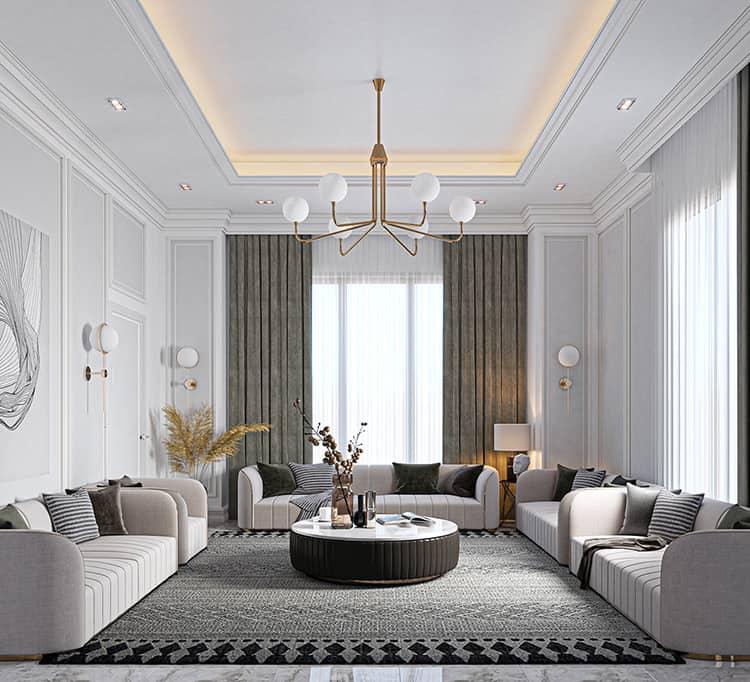 thiết kế nội thất phòng khách biệt thự mini nhà vườn