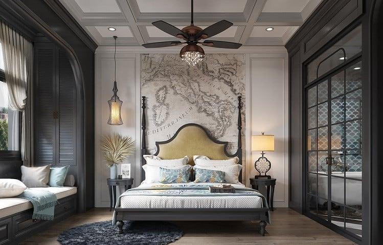 phòng ngủ biệt thự mini phong cách đông dương