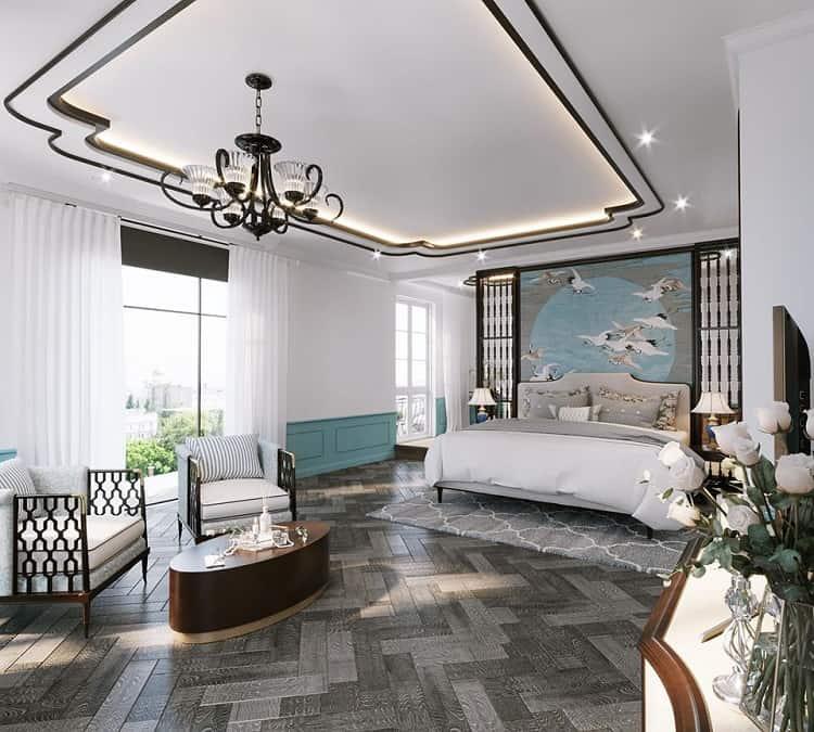 phòng ngủ biệt thự phong cách indochine
