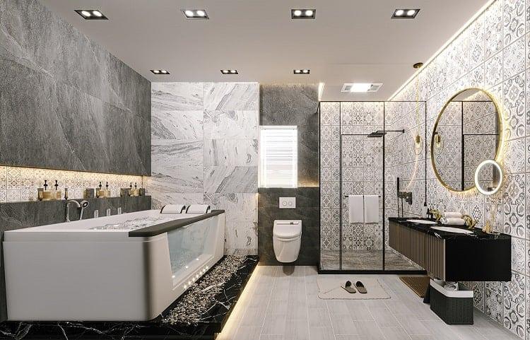 phòng tắm massage trong biệt thự