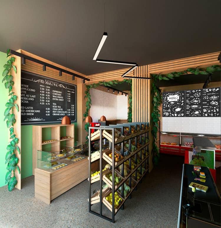 Thiết kế cửa hàng hoa quả không gian mở