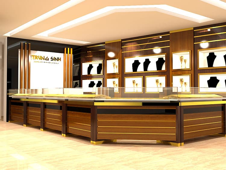 Thiết kế cửa hàng vàng bạc với nội thất sang trọng