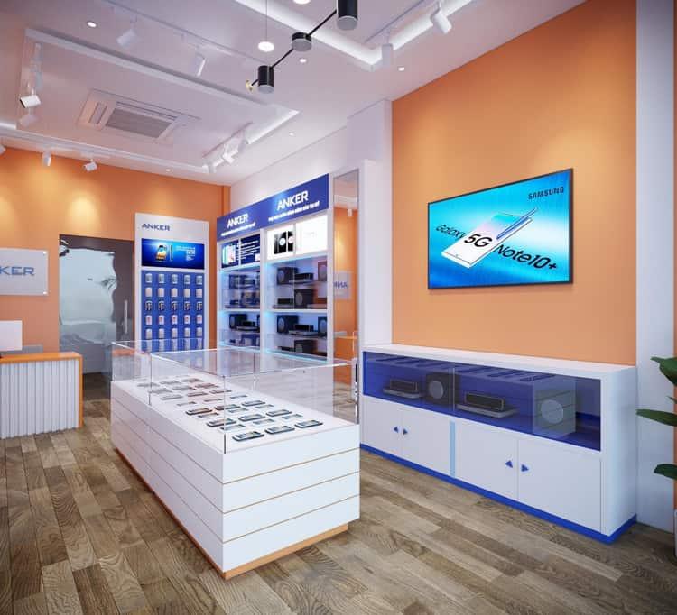 Cửa hàng điện thoại với gam màu ấn tượng