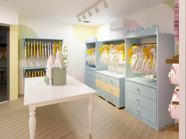thiết kế shop quần áo trẻ em thanh lịch
