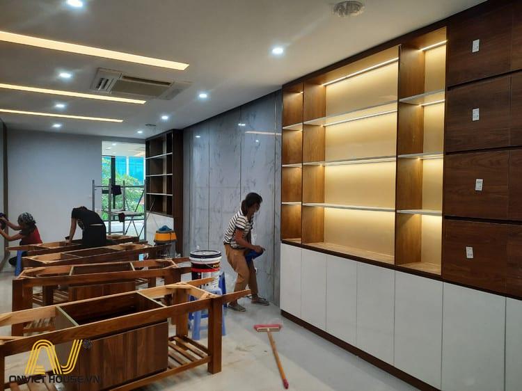 Anviethouse thi công nội thất showroom mỹ phẩm kết hợp spa