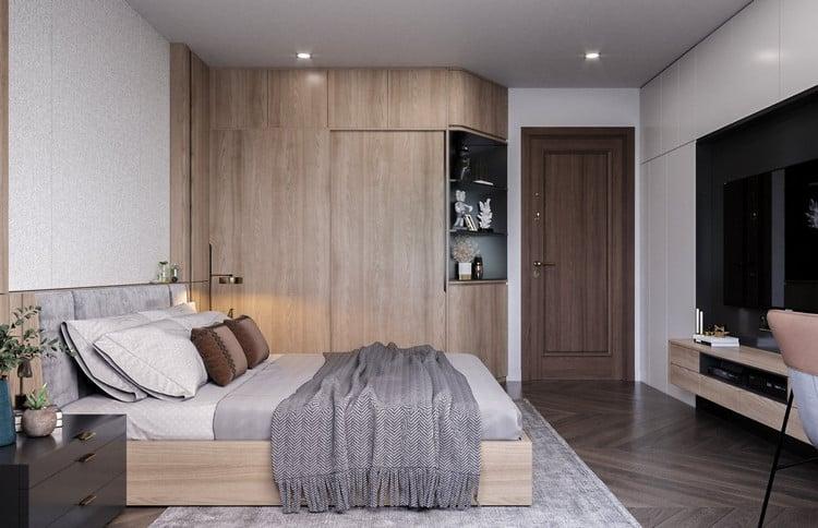 Phòng ngủ gỗ công nghiệp hiện đại