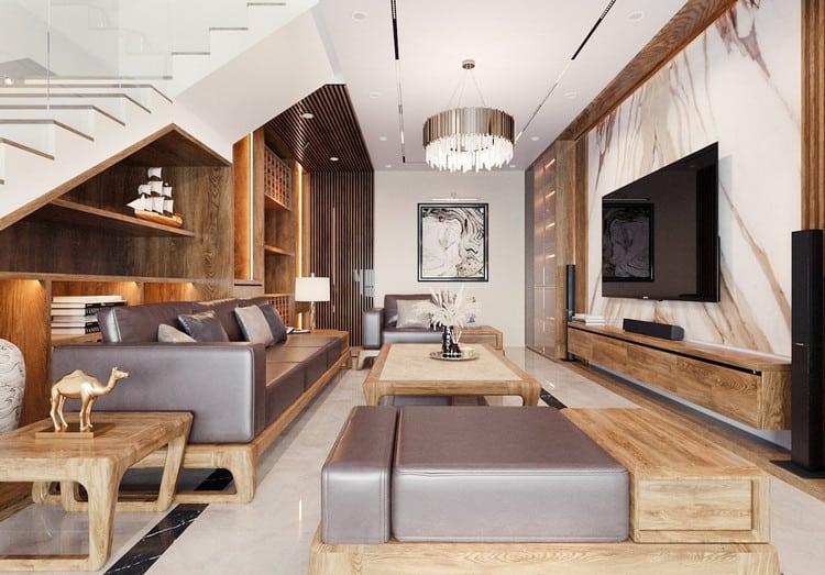 Mẫu thiết kế phòng khách nhà ống