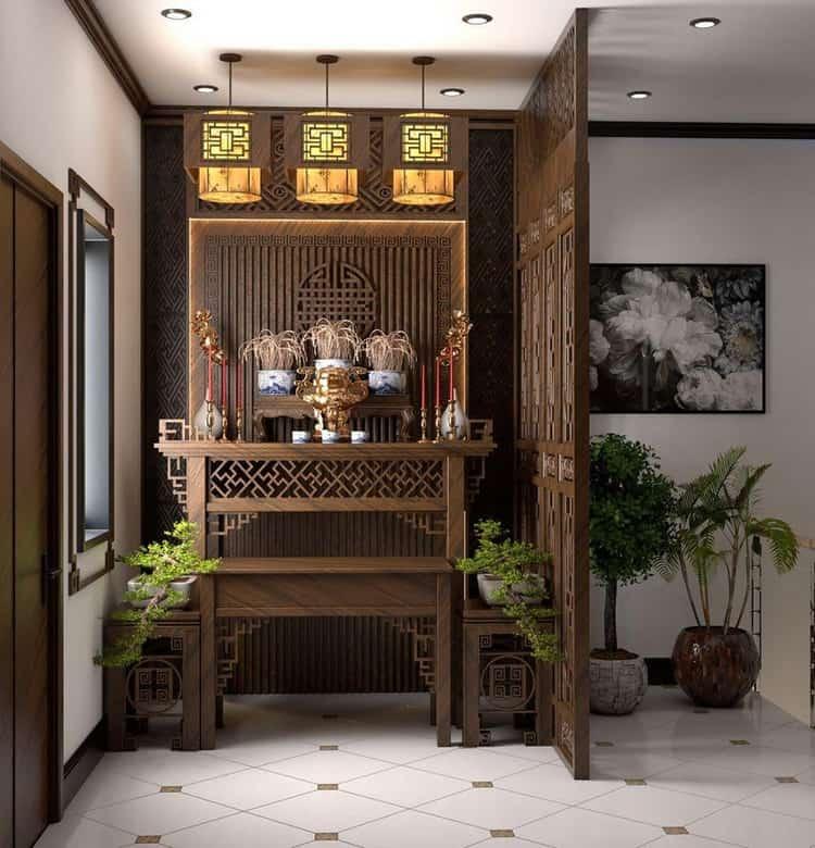 lam gỗ trang trí bàn thờ phòng khách