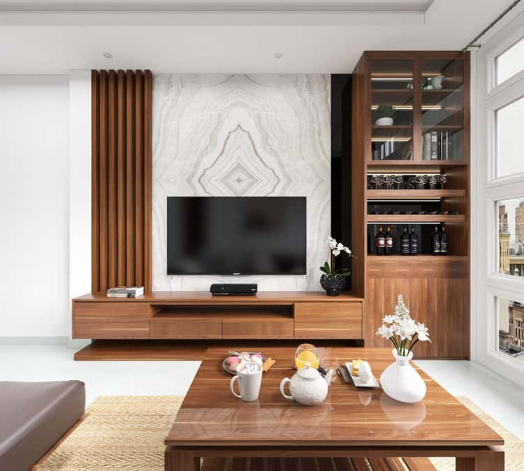 Lam gỗ kết hợp kệ tivi