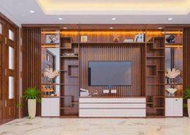 mẫu gỗ ốp tường phòng khách đẹp