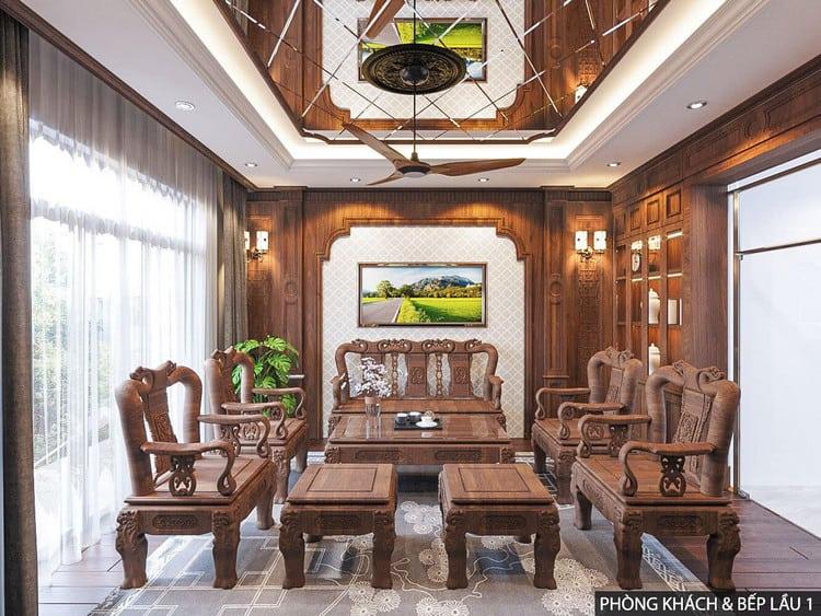 Ốp gỗ tự nhiên phòng khách