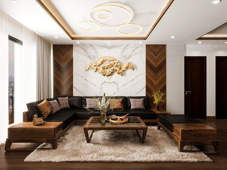 Mẫu thiết kế nội thất phòng khách gỗ óc chó