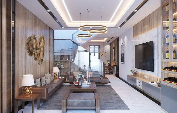 Mẫu thiết kế phòng khách nhà ống 5m đẹp