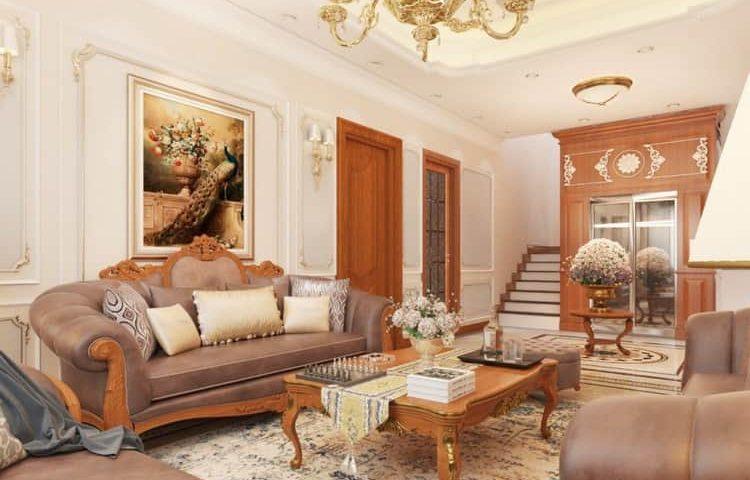 Mẫu phòng khách tân cổ điển hơi hướng hoàng gia