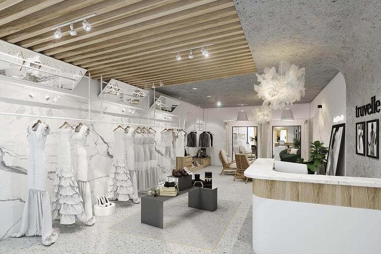 thiết kế ánh sáng trong cửa hàng
