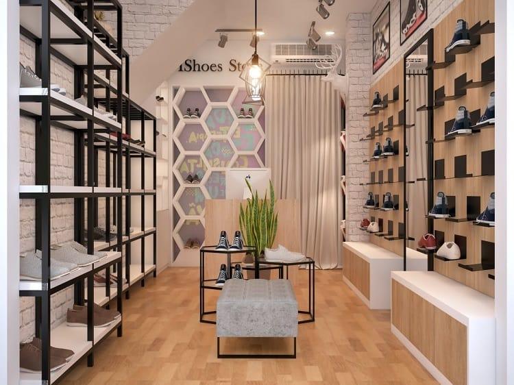 trang trí nội thất shop giày dép