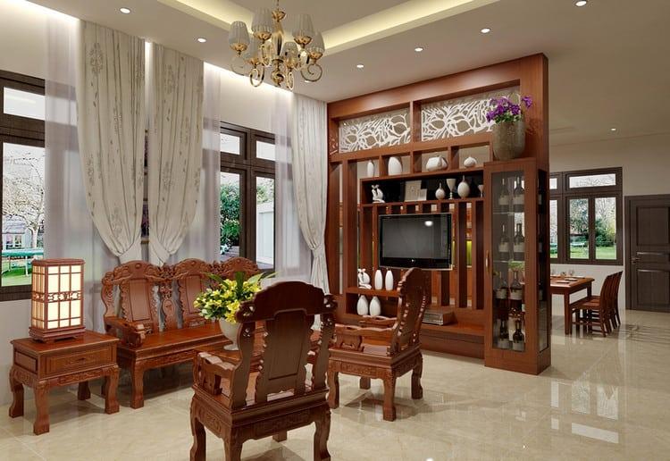 Lam gỗ ngăn phòng khách và bếp