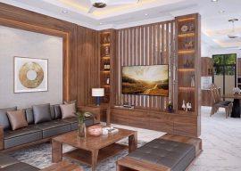 Vách lam gỗ kết hợp kệ trang trí phòng khách