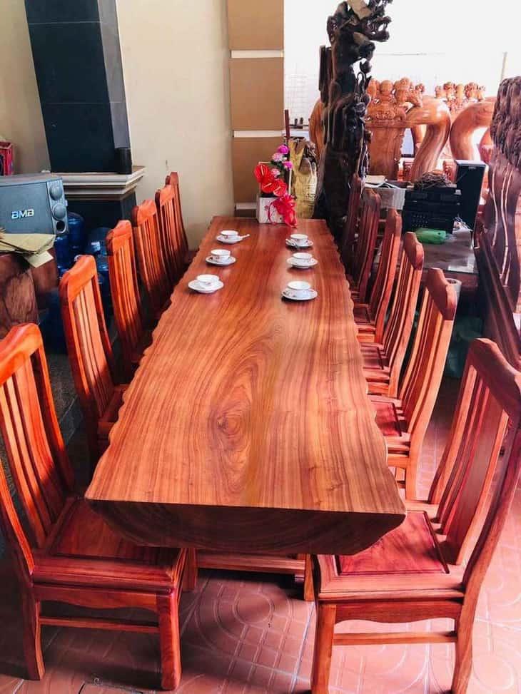 bàn ăn liền khối gỗ hương