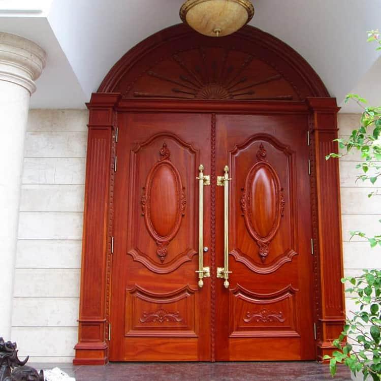 mẫu cửa gỗ lim 2 cánh tân cổ điển
