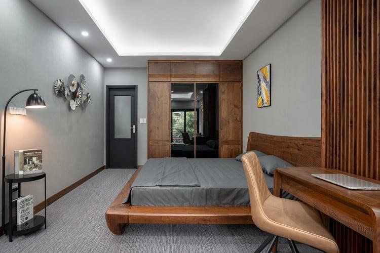 bộ nội thất phòng ngủ gỗ óc chó