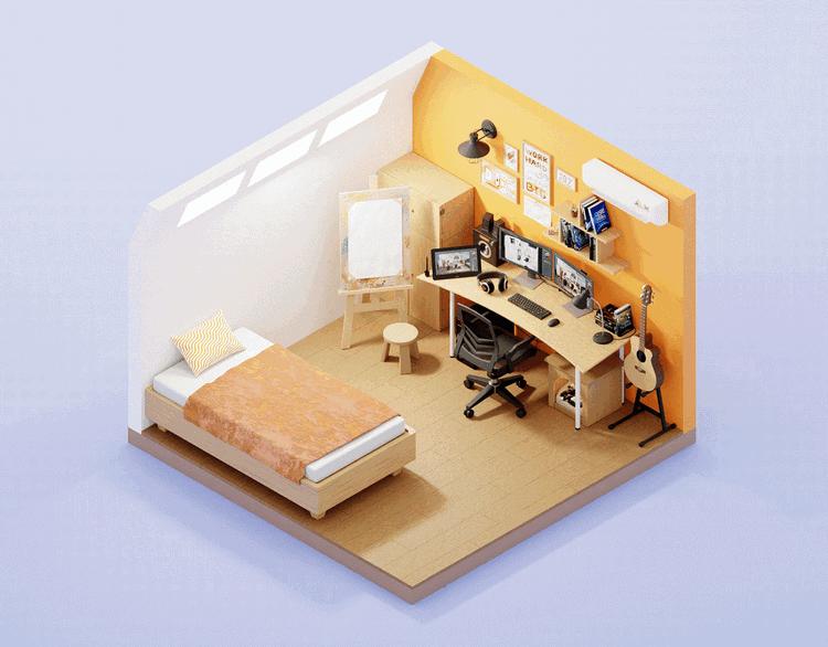 phòng ngủ gamer hiện đại, đơn giản