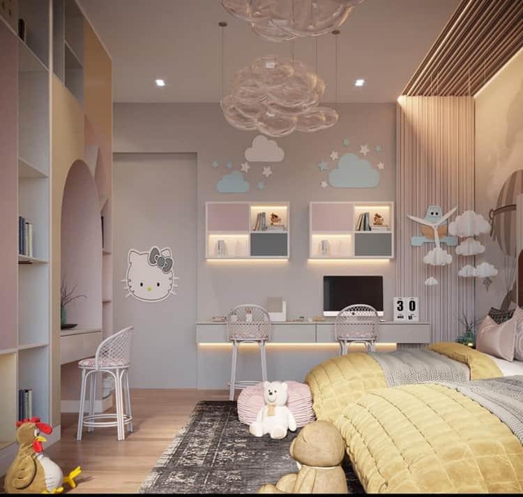 phòng ngủ 2 giường đơn cho bé gái