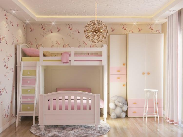 phòng ngủ giường tầng cho 2 bé gái