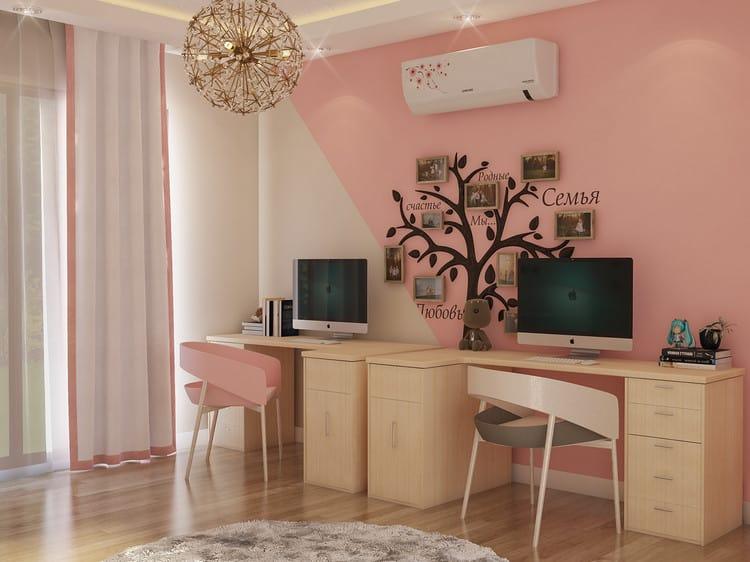 thiết kế phòng ngủ giường tầng cho 2 bé gái