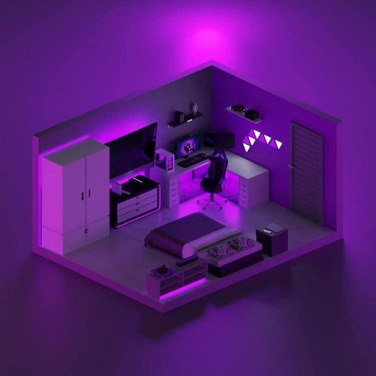 mẫu thiết kế phòng ngủ gamer ấn tượng