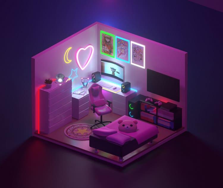 thiết kế phòng ngủ gamer nữ
