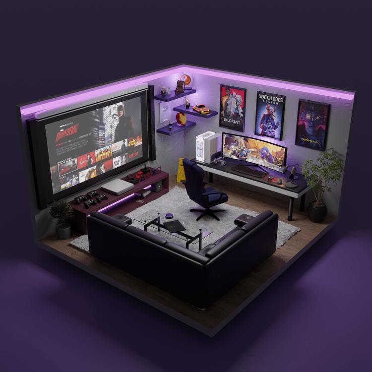 thiết kế phòng ngủ gaming sang trọng