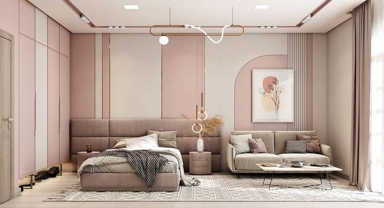 thiết kế nội thất phòng ngủ nữ phong cách hiện đại