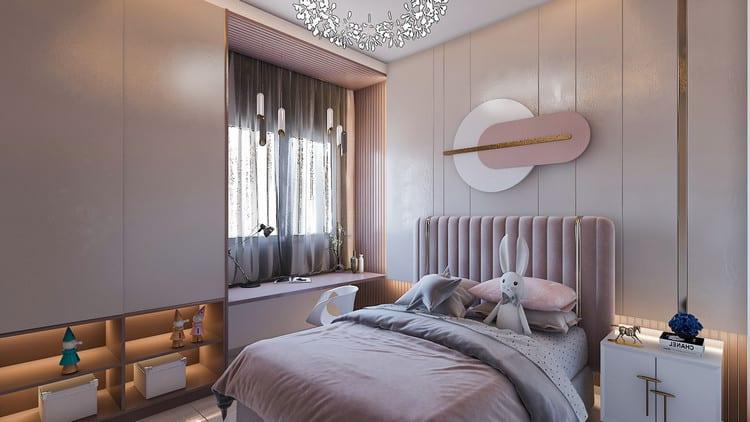 thiết kế phòng ngủ nhỏ cho bé gái