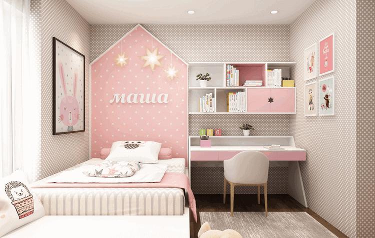 thiết kế nội thất phòng ngủ nhỏ cho bé gái